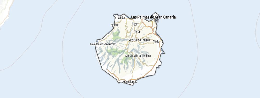 Mapa / Pochody v oblasti Gran Canaria