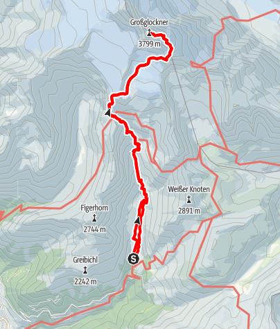 Karte / Großglockner über Stüdlhütte und Erzherzog-Johann-Hütte (Adlersruhe) vom Lucknerhaus
