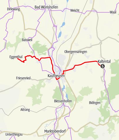 Karte / Schlossparkradrunde im Allgäu - Achse 1 (nicht ausgeschildert)