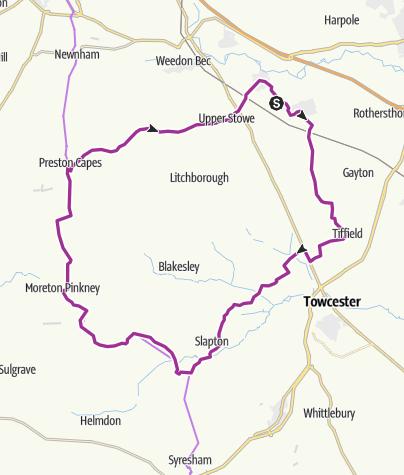 Map / Nether Heyford, Wappenham,, curcular route