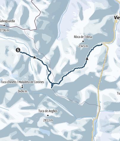 Map / Tuc de Mulleres, 3.010 m. Pyrenees.
