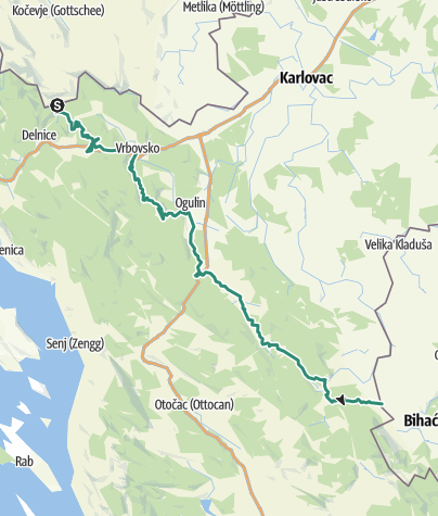 Map / Via Dinarica in Croatia - Green line - HR-G