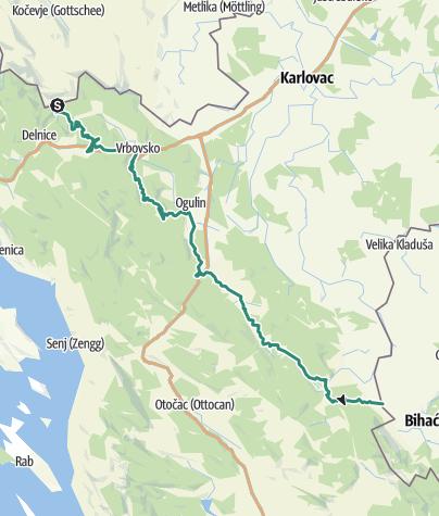 Mapa / Via Dinarica Trail u Hrvatskoj - Zelena linija - HR-G