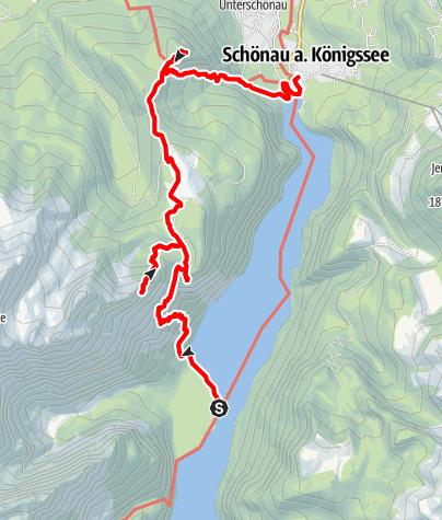Karte / Rinnkendlsteig - bei herrlicher Aussicht über dem Königssee auf die Archenkanzel