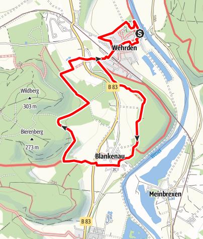 """Karte / Weserhöhen-Wanderung """"Die Blankenauer Runde durch Hegge und Wildberg"""""""