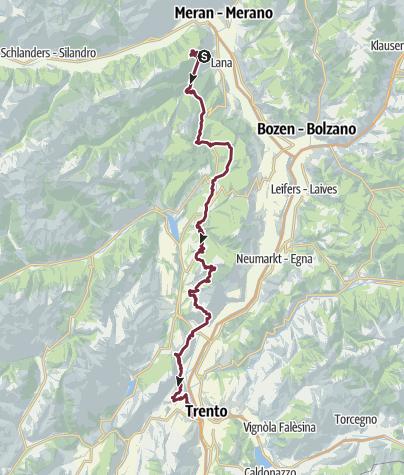 Karte / Via Vigilius - Weitwanderweg vom Vigiljoch oberhalb von Lana nach Trento