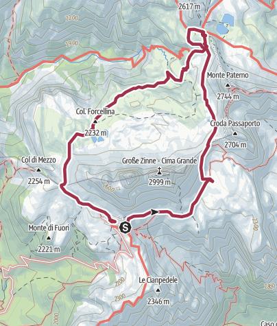 Mapa / Ruta circular Tre Cime Lavaredo