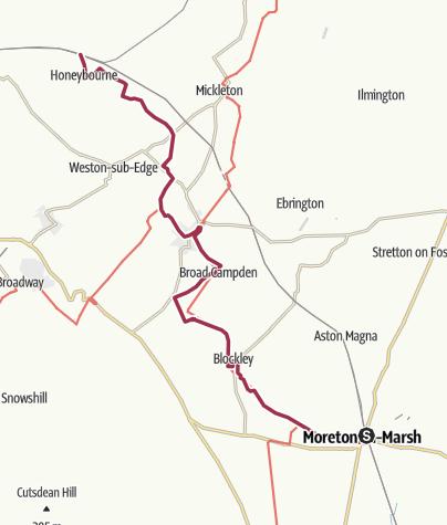 Map / Moreton in Marsh to Honeybourne