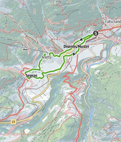 Map / Mit Kinderwagen von Disentis nach Segnas, Dorfrunde