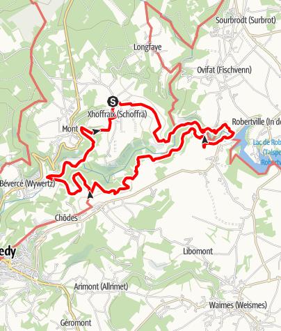 Kaart / Plezierwandeling 16 - « Valleien en bergkammen » Xhoffraix