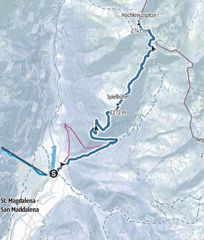 Cartina / Ciaspole: Monte Alta Croce a S. Maddalena/Valle di Casies