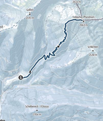 Cartina / Skitour scialpinistica: Gandelle - Rifugio Bonner - Corno di Fana