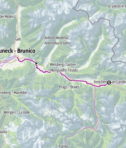 Map / Pustertal Valley Cycle Trail: Innichen/San Candido - Bruneck/Brunico