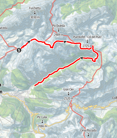 Map / Mountain hike from the Firenze hut to the Puez hut