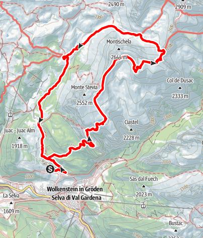 Cartina / Escursione in alta montagna Col dala Pieres
