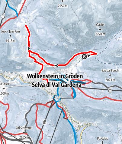 Karte / Winterwanderung vom Langental über den Kreuzweg bis zum Juac