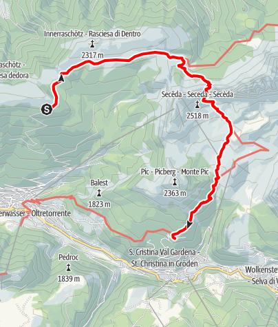 Karte / Bergtour zur Panascharte