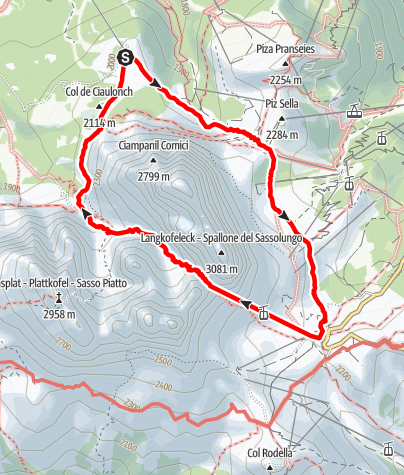 Map / Transition of the Sassolungo wind gap