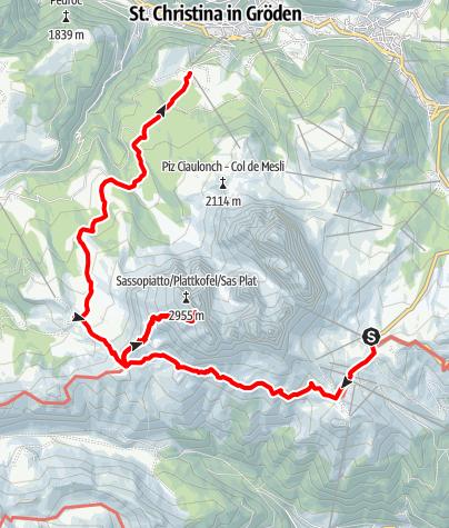 Karte / Besteigung des Plattkofels
