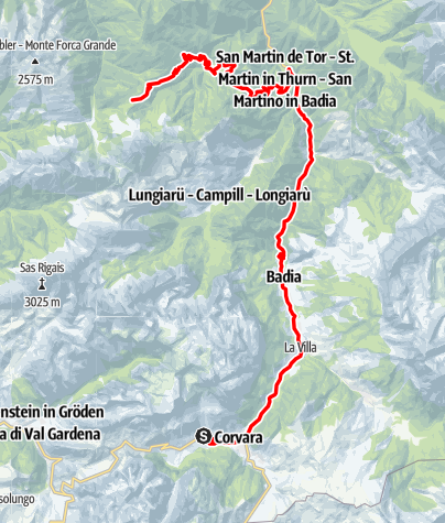 Map / Road bike tour to the passo delle Erbe/Würzjoch
