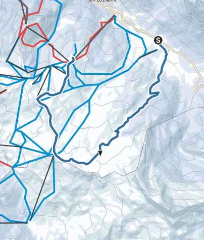 Map / Winter hike through the Störes meadows to the Piz Sorega