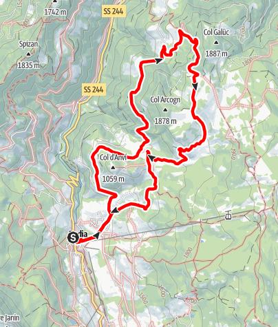 Mappa / Da Badia attraverso i prati dell'Armentara