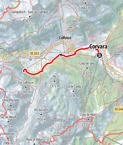 Map / Walk to the Pisciadú waterfalls in Colfosco