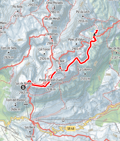 Map / Crossing of the Sella Group from Sass Pordoi to Corvara