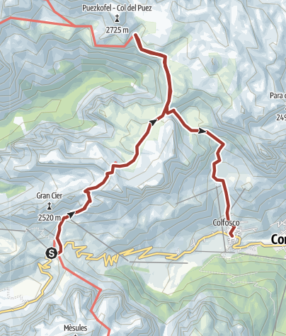 Map / Hike on the southern edge of the Puez-Odle Nature Park