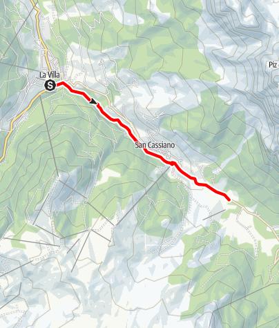 Karte / Von La Villa nach San Cassiano bis Armentarola auf dem Tru di artisć/Künstlerweg