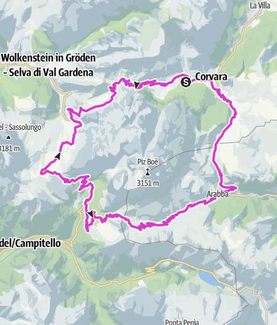 Map / Sella Ronda road bike tour