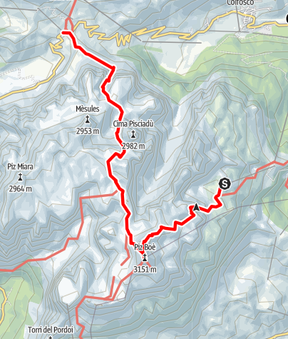 Map / Summit Tour to the Piz Boé in the Sella Massif