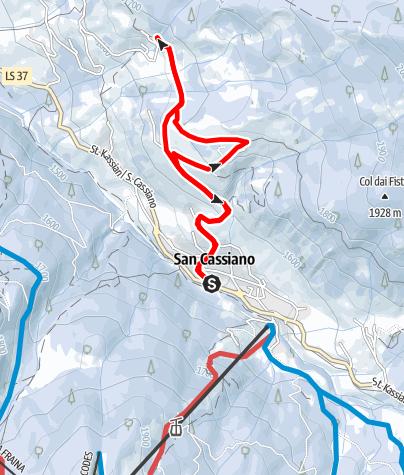 Cartina / Escursione invernale lungo il sentiero dei larici a San Cassiano