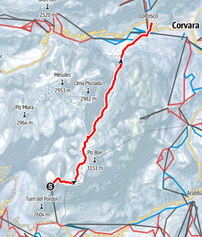 Map / Fresh snow descent from Val Mezdì valley in the Sella group