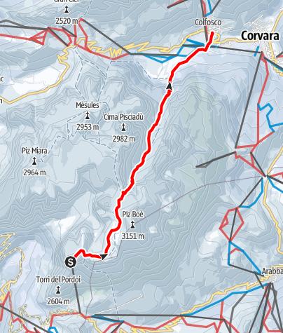 Mappa / Discesa a neve fresca dalla Val Mezdì nel gruppo del Sella