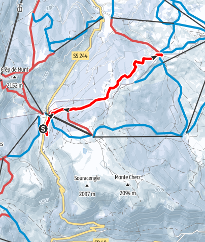 Map / Snowshoe excursion on the Hunter's Trail towards the Cherz Plateau
