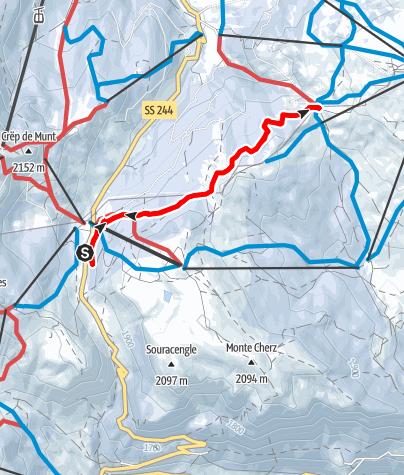Karte / Schneeschuhwanderung auf dem Jäger-Weg in Richtung Cherz-Plateau
