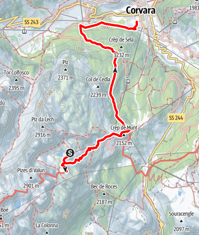 Map / Hike from the F. Kostner hut to Corvara via Crëp de Sela