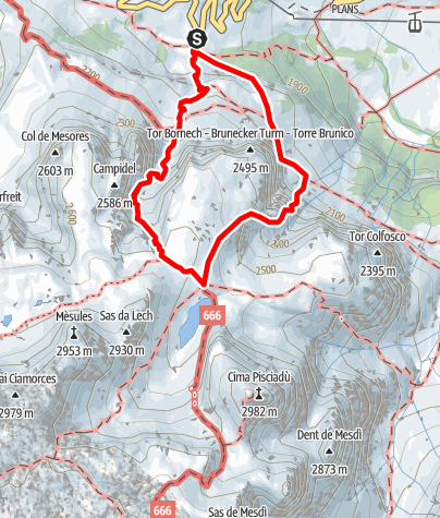 Karte / Klettersteig Brigata Alpina Tridentina am Pisciadú