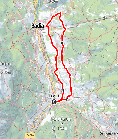 Map / From La Villa to Badia on the Tru dles viles/farmhouses trail