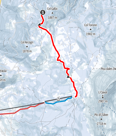 Map / Winter Hike from La Val to La Cialciara and Santa Croce