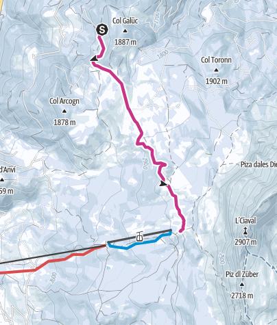 Map / Winter Hike from La Val to La Cialciara and Santa Croce