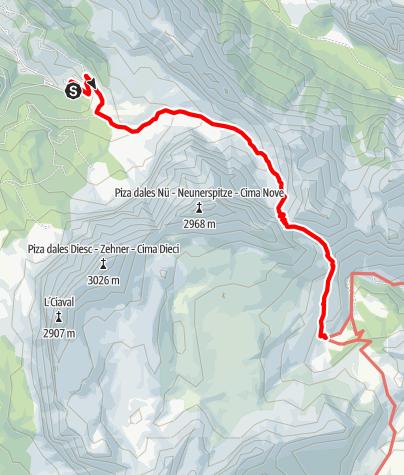 Cartina / Escursione in quota La Val - passo di S. Antonio - Alpe Fanes