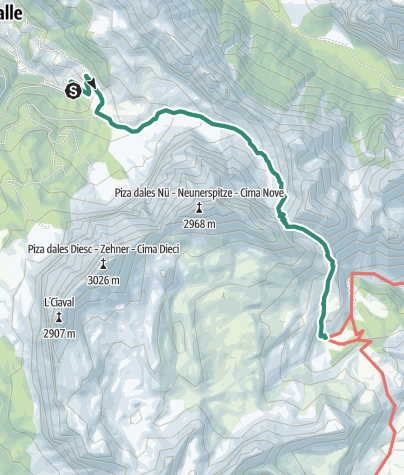 Map / Alpine Tour: La Val – Ju de Sant Antone – Alpe di Fanes