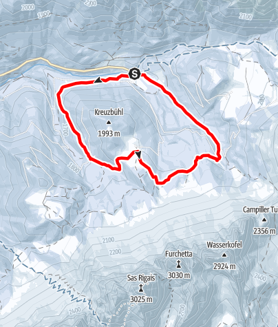 Map / To Dusler Alm on the Funes/Villnöss alpine pasture