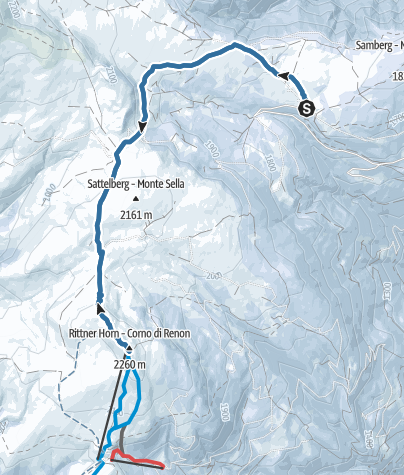 Map / Snowshoe walk from the Villanderer Alm to the Rittner Horn