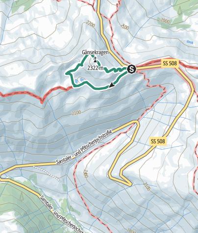 Map / Penserjoch lake and Gänsekragen
