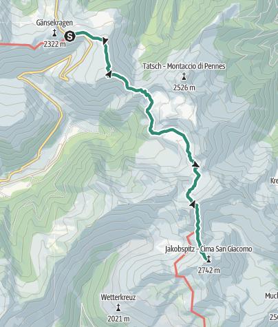 Map / From the Penserjoch pass to the Jakobsspitze