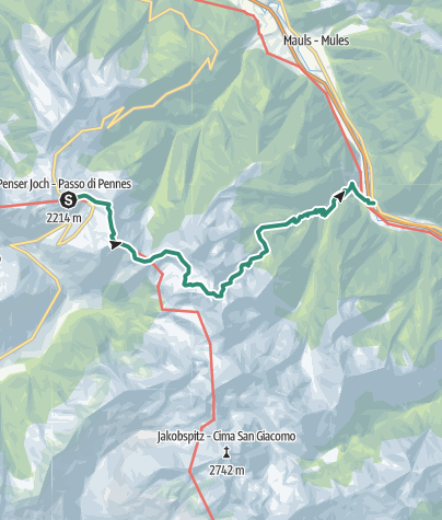 Map / From Penserjoch pass to the Puntleider lake