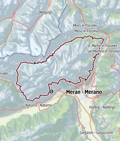 Karte Texelgruppe.Merano High Mountain Trail 6 Stages Starting From
